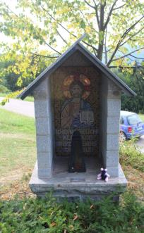 Sheila at the Maria Lindenburg shrine in the Black Forest