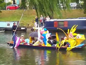 Decorated punt on the Cam